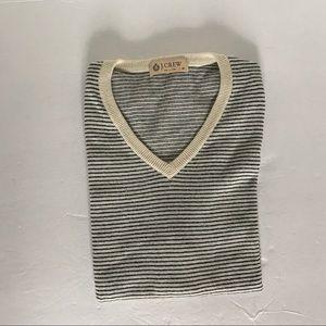 NWOT J.CREW Blue / Cream Strip Sweater Vest